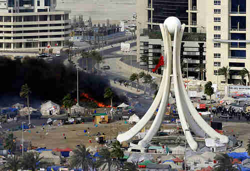 Manama's Pearl Square after March 15, 2011, Arab Spring protests. The beautiful Pearl monument was torn down by the regime on March 18, because it was thought to be encouraging protests.