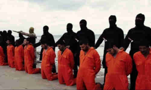 Screen grab from terrorist public relations video showing Egyptian Coptic Christian fishermen just prior to beheading in Libya in Feb 2015
