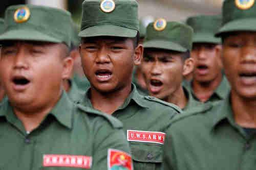 United Wa State Army (UWSA) rebel soldiers marching (Irrawaddy)