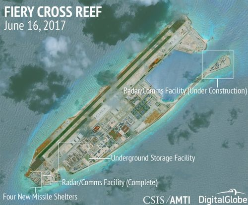 Fiery Cross Reef continues is the most advanced of China's illegal bases, with new missile shelters, radar/communications facilities, and other infrastructure (AMTI)