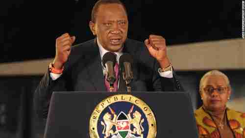 President Uhuru Kenyatta giving election victory speech on Saturday