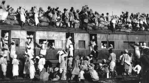 Muslims on a train from New Delhi to Pakistan in 1947 (AP)