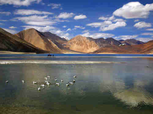 Pangong Lake is in the Himalayas over 4,000 meters (13,000 feet) high on the Tibetan plateau. (AP)