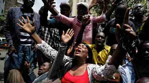 Supporters of Raila Odinga celebrate the court ruling (CNN)