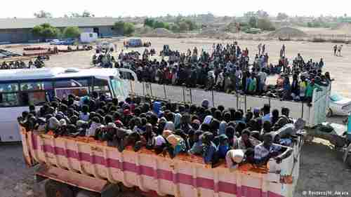 Migrants from Libya's port of Sabratha are transported to detention centers by Italy's deal with warlords (Reuters)