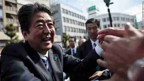 Japan's Shinzo Abe campaigning (CNN)