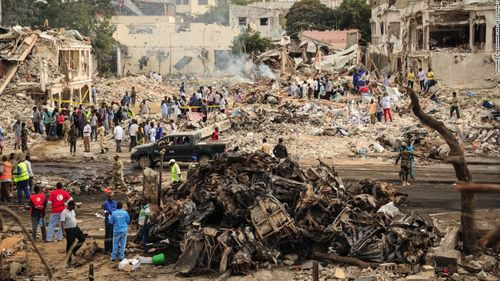 Aftermath of two car bombs in the heart of Mogadishu, Somalia, on Saturday (CNN)