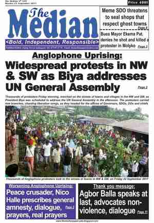 The Median newspaper depicts anti-government protests while Cameroon president Paul Biya is addressing the UN General Assembly on 25-Sep (Cameroon-Concord)