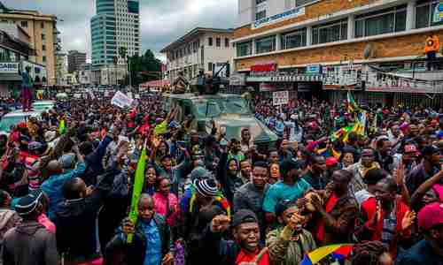 Anti-Mugabe protests in Harare Zimbabwe on Saturday