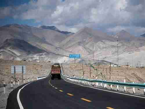 A truck drives along the China-Pakistan Friendship Highway in China's western Xinjiang province. (AFP)
