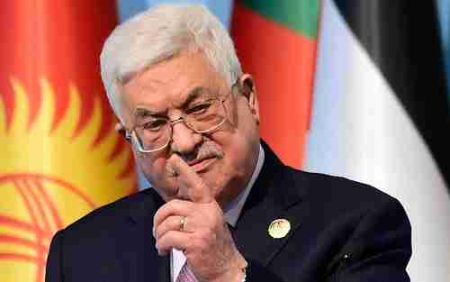 A furious Palestinian president Mahmoud Abbas shakes his finger on Wednesday as he makes a point (AFP)