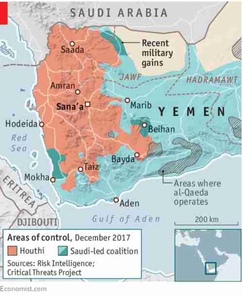 Map of Yemen showing areas controlled by Houthis Saudi-led coalition and al Qaeda