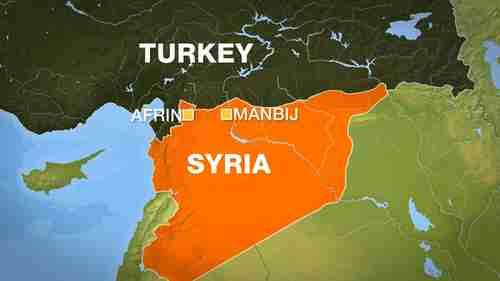 Map showing Syrian cities of Afrin and Manbij, both Kurdish YPG strongholds, and targets of Turkey's planned invasions (al-Jazeera)
