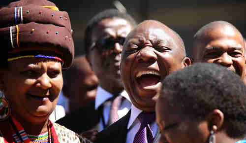 South Africa's president Cyril Ramaphosa after addressing parliament on Tuesday (Daily Maverick)