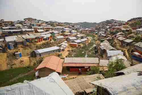 Rohingya refugees' tents are likely to be washed away in the flooding and landslides from the April monsoons (Guardian)