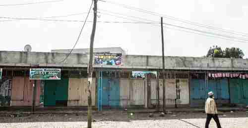 Deserted streets in Ethiopia's capital city Addis Ababa, as businesses closed after strike called by Oromo activists (AFP)