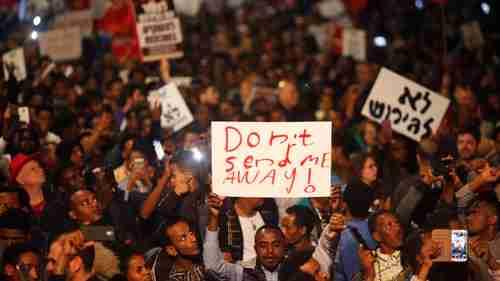 Asylum seekers in Tel Aviv, Israel, protest against deportation on 24-Feb (AP)