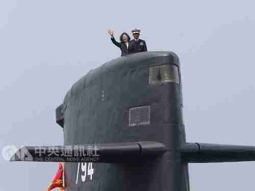 Taiwan's president Tsai Ing-wen on a Dutch-built submarine last year. (AP)