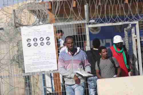 African migrants leaving prison on Sunday, after being freed by Israel's Supreme Court (Times of Israel)
