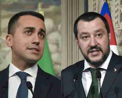 Five-Star Movement leader Luigi Di Maio, left, and La Liga leader Matteo Salvini (AFP)
