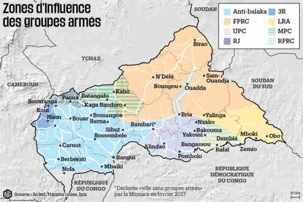 Map of Central African Republic, showing zones of influence of armed groups (Conflict Intelligence Team)