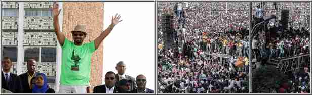 Abiy Ahmediat (L) was just finishing speaking to a massive audience (R) when the grenade explosion occurred (Guardian)