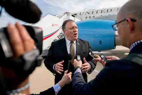 Mike Pompeo in Pyongyang after his meetings on Saturday (AFP)
