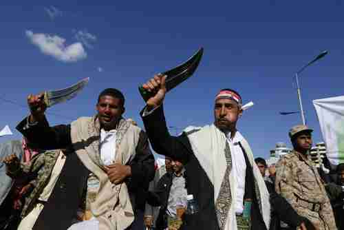 Houthis perform a demonstration using traditional daggers in Sanaa, Yemen, in 2015 (European Pressphoto Agency)