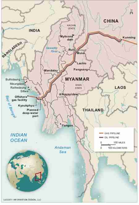 Map of China-Myanmar Economic Corridor - CMEC (The Irrawaddy)
