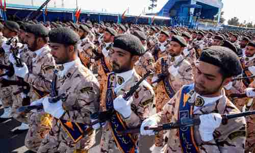 IRGC soldiers marching in military parade on Saturday, prior to terrorist attack (AFP)