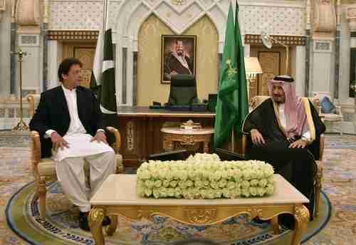 Pakistan prime minister Imran Khan meets Saudi King Salman (MBS's father) on Tuesday in Riyadh (AFP)