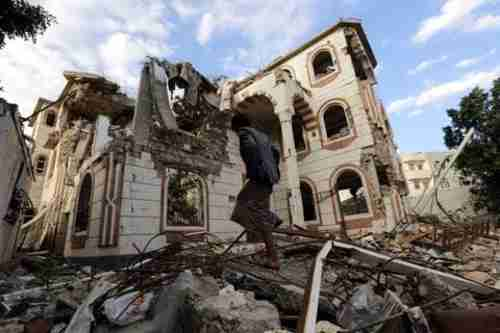Building in Sanaa destroyed by an airstrike last week (EPA)