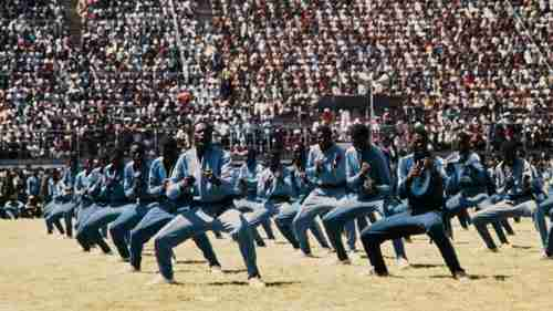 The Norea Korea-trained Fifth Brigade of Mugabe's Zimbabwean army demonstrates karate in May 1984 at Rufaro Statium in Harare, Zimbabwe. In 1983, the Fifth Brigade committed a massive slaughter of the Ndebele tribe in a massive genocide called Operation Gukurahundi