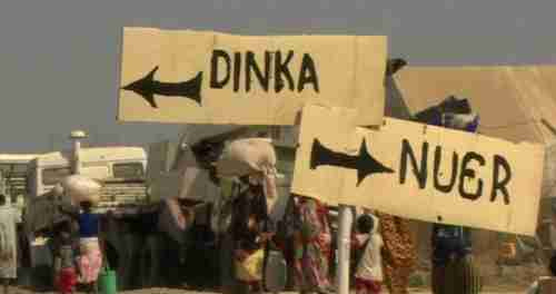 Signs separating the Nuer and Dinka tribes in a UN refugee camp in South Sudan (Nyamilepedia)