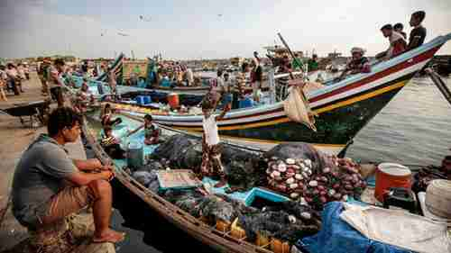 Fishermen in the the seaport of Hodeidah on September 29 (AP)