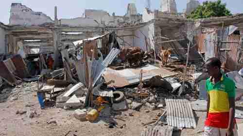 Site of Mogadishu bombing on Saturday (AP)