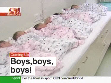 From 2007: Boys! Boys! Boys! Chinese maternity ward: Five boys (white) and three girls (pink) (CNN)