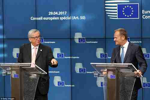 EU Commission President Jean-Claude Jüncker (left) and EU Council President Donald Tusk in Brussels on Saturday (Getty)