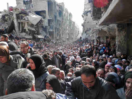 The Yarmouk refugee camp for Palestinians, in Damascus, Syria, in 2014 (Getty)