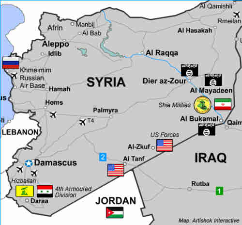 American-backed forces, Iran-backed forces and ISIS are all headed for a military confrontation in Deir az-Zour (Debka)