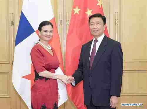 Panama's vice president Isabel de Saint Malo de Alvarado meets China's vice president Li Yuanchao in Beijing on Tuesday (Xinhua)