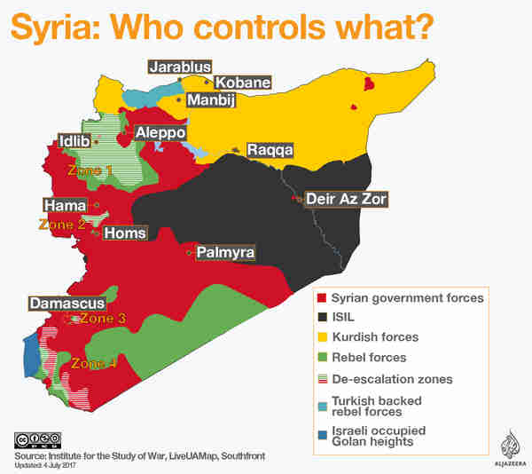 Map showing areas of control in Syria for government, ISIS, Kurds and rebels. Afrin is north eastern Syria in the region shown in yellow in the top-left. (al-Jazeera)