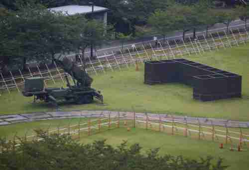 A Patriot Advanced Capability-3 (PAC-3) missile battery at the Defense Ministry in Tokyo.
