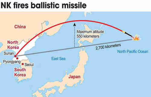 Map showing trajectory of North Korean missile (Yonhap)