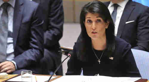 Nikki Haley speaking at UN Security Council on Monday