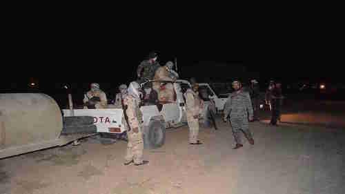 A group of masked Hash Al-Shaabi forces (Iraqi Shia Muslim Popular Mobilization Units) seen near Kirkuk late Thursday (Kurdistan 24)