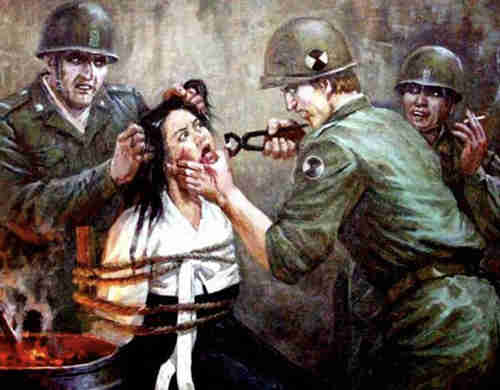 Gruesome North Korean propaganda painting claiming to depict American war crimes during Korean War (News Dog Media)