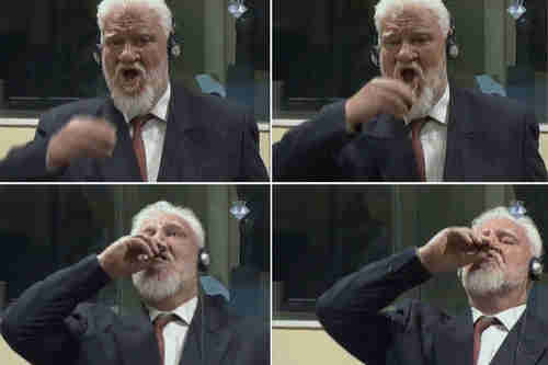 Slobodan Praljak, sentenced to 20 years in prison, drinks poison in a court hearing broadcast live around the world, and dies a few hours later (Getty)