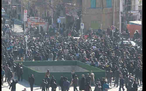 Anti-government demonstrations in Mashad, Iran, on Thursday (AP)