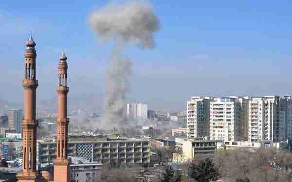 A distant view of the explosion in Kabul on Saturday (Khaama Press)